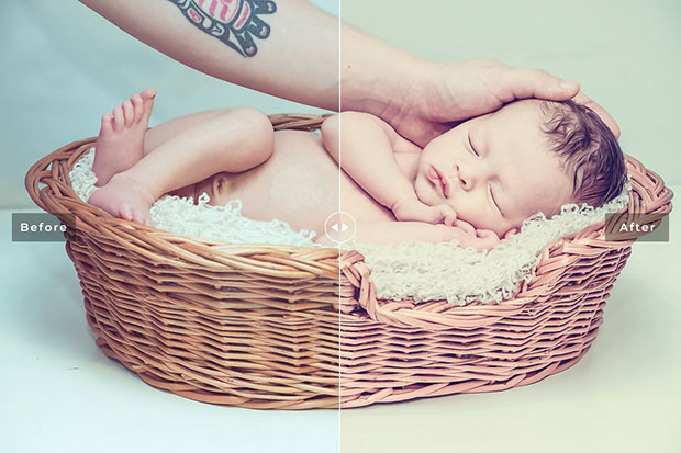 34 پریست لایتروم و CameraRaw نوزاد Newborn Lightroom Presets Pack