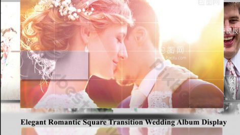 پروژه افترافکت عروسی اسلایدشو Elegant Romantic Square Transition Wedding Album Display